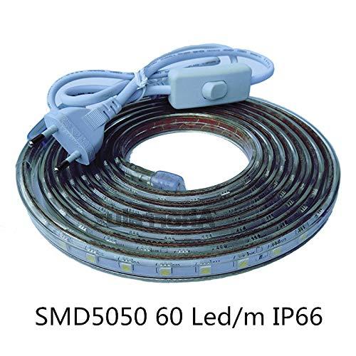 Tiras LED Smd5050 220v 60 Led/m para Interiores y Exteriores Decorar IP66 Impermeable Con Enchufe de Interruptor ONSSI LED 6000k (Blanco Frío, 3M)