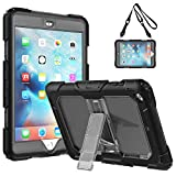 TiMOVO iPad Mini 1/2 / 3 Case, Shockproof Full Body Rugged Shock Drop Protective Cover with Stand And Strap for Apple iPad Mini 3/2 / 1 7.9 inch Tablet - Black And Clear Gray