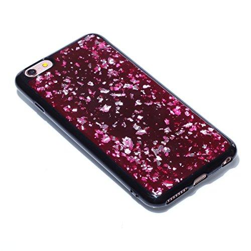 iPhone 6S Plus Coque Hard Housse de Protection,iPhone 6 Plus Etui Téléphone Dur Coque Rigide Protecteur Étui Housse Créatif Désign Classique Raffinement Bois Coque Case Ultra Slim Mince Hard Cover Woo rouge/gliter