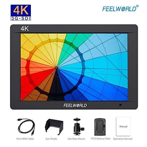 Feelworld FW703 Kamera Monitor 3G-SDI LCD Feldmonitor Bildschirm 7 Zoll 1920x1200 IPS Full HD 4K HDMI für Canon Nikon Panasonic Sony DSLR Kamera, F550 Akku Kit enthalten
