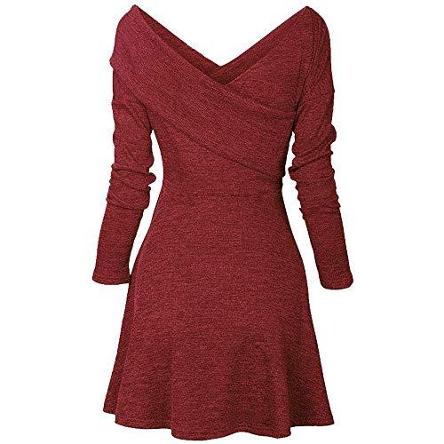 Frauen Kleid V-Ausschnitt Langarm A-Linie Kleid Bodycon Casual Partykleid