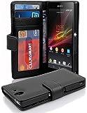Cadorabo Hülle für Sony Xperia Z - Hülle in Oxid SCHWARZ – Handyhülle mit 3 Kartenfächern - Case Cover Schutzhülle Etui…