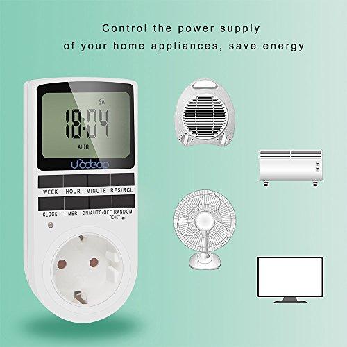 Digitale Timer, Zeitschaltuhr Täglich/Wöchentlich mit LCD-Bildschirm, 12/24H, 7 Tage, klassische Stromversorgung, energiesparend,Unodeco U002 - 4