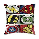 yuehu DC Comics Vs Marvel Cotton Square Pillow Covers Housses de Coussin (45cmx45cm)