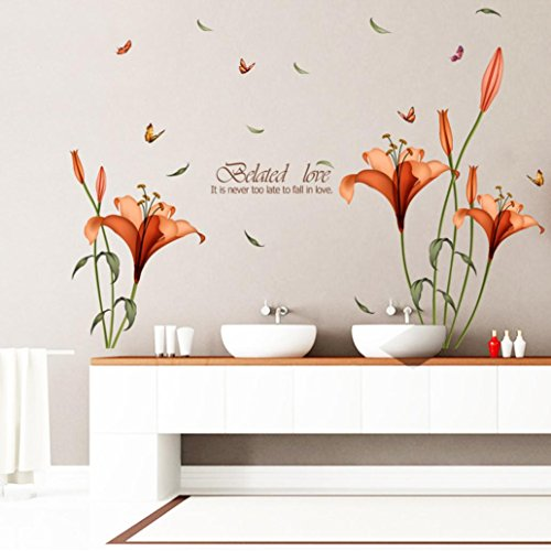 Longra Wandaufkleber Wand Aufkleber entfernbare Aufkleber Home Decor DIY Art Blume Dekoration Wandtattoo Wandsticker (Orange)