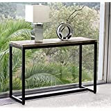 Homey Essense Metal Frame Solid Wood Console Table for Home (Design 8)