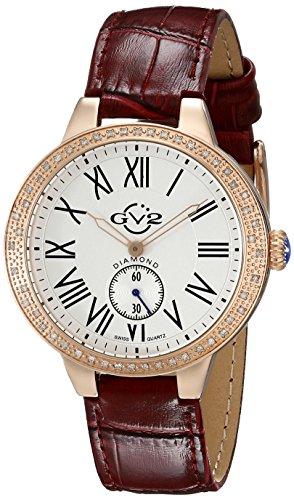 GV2 by Gevril Astor - Reloj de Pulsera para Mujer, Cuarzo Suizo, Correa de Piel de borgoña (Modelo: 9104)