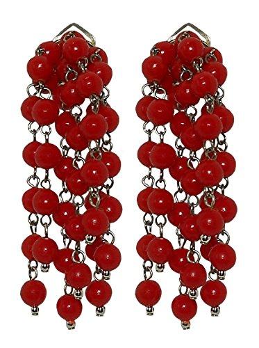 VINTAGE 2 RED - Orecchini pendenti donna, grappolo a clip, in resina Rosso, originale anni 60, nickel free, lunghezza cm. 5,5