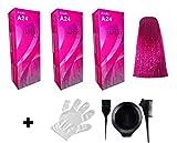 3 x Berina Haarfarbe A24 magenta pink für langes Haar - inklusive Pinsel Kamm Färbebecher und Schutzhandschuh