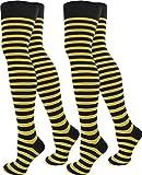 normani 2 Paar Damen Overknee Überknie uni in Schwarz oder Weiß Farbe Schwarz/Gelb/Schmal