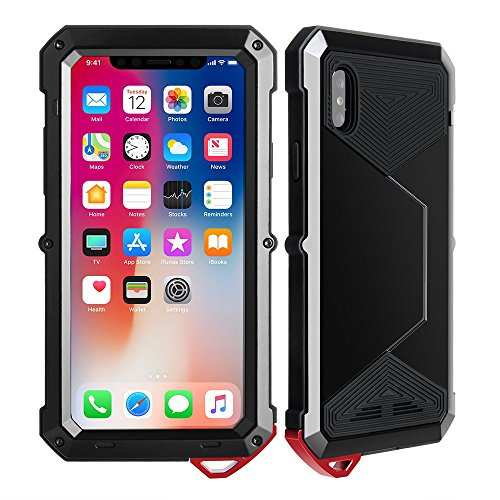 Yarrashop iPhoneX wasserdichtes Hülle Ganzkörper Case Robust 5,8 Zoll Handyhülle Dual Layer Schale mit eingebautem Displayschutz und Gürtelclip für Apple iPhone X / 10 Schwarz Robustes Hard Case
