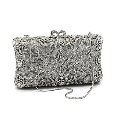 KUKIE Best 4U® Damen Taschen Glas Metall Abendtasche Kristall Verzierung für Hochzeit Veranstaltung Fest Alle Jahreszeiten Silber - Satin-kristall-glas
