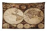 Abakuhaus Mappa del Mondo Set Copripiumini e Federe, La Mappa Antica del Mondo Disegnato negli Anni 1720 Stile Nostalgico Arte, Lavabile e Senza Colori sbiaditi, 230x140 cm, Multicolore