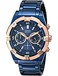 Guess U0377G4 - Reloj para hombres, correa de acero inoxidable color azul