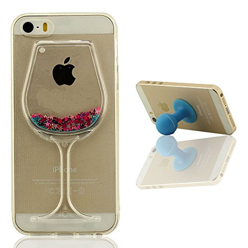 Mini-Goblet Original Conception - iPhone SE étui de Protection Liquide Eau Style Clair Transparent Souple Silicone Gel Mince Case Coque pour Apple iPhone 5 5S + Silicone Titulaire Bleu