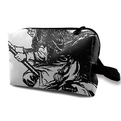 Kitty Fly On Broom Portable Travel Makeup Bag,Storage Bag Portable Ladies Travel Square Cosmetic Bag ()