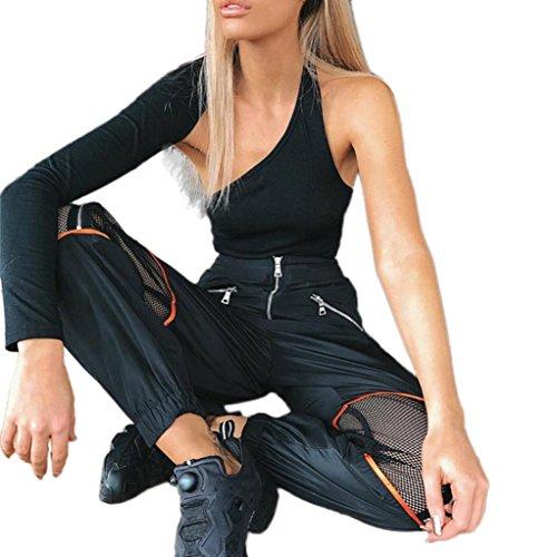 VENMO Frauen Sexy Net Yarn Reißverschluss Patchwork Sporthosen Outdoor Freizeithosen Jogginghose Strandhosen Trainingshose Hose Freizeithose Sporthose Cargo Damen Hose Elegante Hose Casual Hosen (Black, XL)