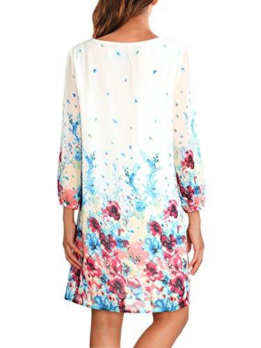 DJT Damen Blumen Muster Rundhals Casual Blusenkleid Kleider Weiß
