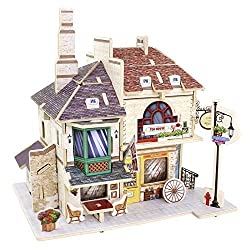 Creative Assemble Puzzle Toys Child Early Education Wooden 3D Puzzle House England Red Tea Shop