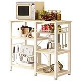 SogesHome 3 Ablage Küchenregal Bäcker Regal Standregal Mikrowellen Halter Küchen regallagerung Küchenwagen Servier,Weißer Ahorn W5S-MO-SH