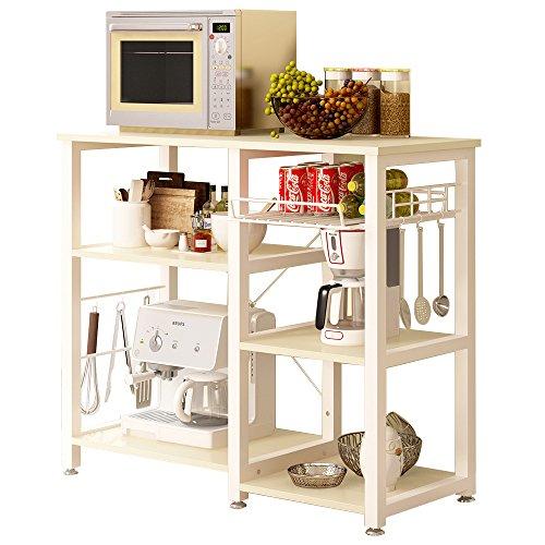 SogesHome 3 Ablage Küchenregal Bäcker Regal Standregal Mikrowellen Halter Küchen regallagerung Küchenwagen Servier,Weißer Ahorn 90 * 40 * 83 cm,W5S-MO-SH