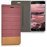 kwmobile Housse flip case pour Samsung Galaxy A3 (2016) pochette cover bookstyle en simili-cuir et textile en rose ancien marron