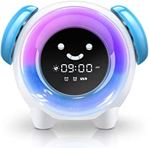 Nachtlichtuhr mit wiederaufladbarer Batterie Kinder schlafen Trainer mit 7 Farben /Ändern Lehren Kids Zeit zum Aufwachen Wecker f/ür Kinder Aufladen USB Lovebay Kinderwecker Wake Up Lichtwecker
