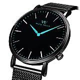 Welly Merck Herren Analog Uhren Schweizer Quarzwerk Mit Schwarz Edelstahl Armbänder M-C10M2