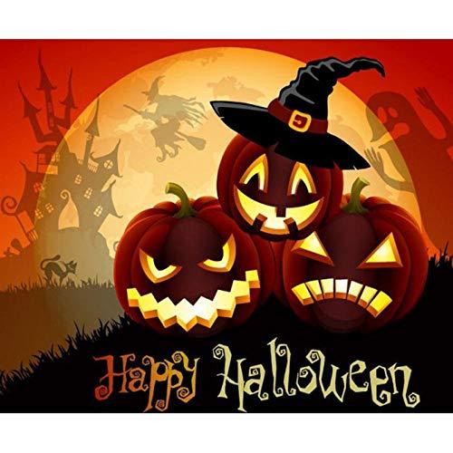 ei 5D Voller Runder Bohrer DIY Halloween Kürbis Mosaik Kreuzstichrhinestone Dekorationsgeschenk ()