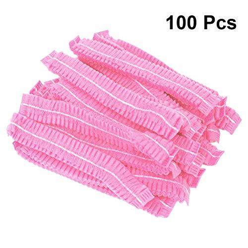 Frcolor 100 stücke Einweg Haar Kappe Dusche Bouffant Cap elastische Freie Größe Gefaltet Anti Staub Hut für Kosmetik Schönheit Küche hause (Rosa)