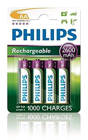 Philips MultiLife batterie NiMH AA Mignon 2600 mAh 4er Paquet