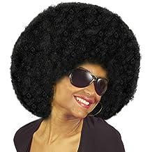 NET TOYS Estilizada Peluca Afro años 70 para Adulto | Negro | Genial Cabello Rizado para