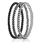 Drei Perlen-Armbänder silber-grau-schwarz, Set, Perlenschmuck, Modeschmuck, Handmade