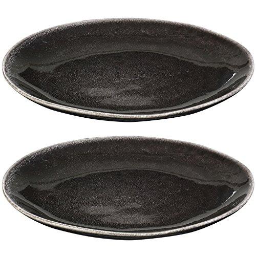 Juego de 2platos 20cm de diámetro plano Porcelana Vintage Gres Negro Plato llano preisvergleich
