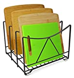 ESYLIFE Kitchen Cutting Board Rack Organizer (Hold up to 4), Black