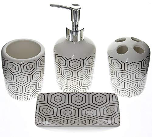 Juego de accesorios de baño en cerámica, 4 piezas, portacepillos, dispensador de jabón, fregadero de vidrio y jabonera, disponible en 2 Fantasies, black2