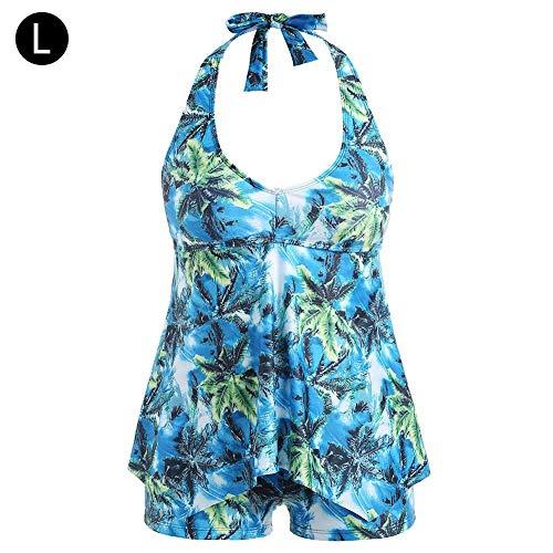 TUANMEIFADONGJI Womens Swimdress Plus Size Bikini Floral hoch taillierte Halfter Badeanzüge Zwei Stück gepolstert Push-up 2 Stück Set Bademode Bauchkontrolle Tankini Badeanzug L-5XL
