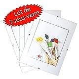 Lot de 3 Sous Verre photo sans cadre 13x18 cm - vitre en verre - cadre à clip - épaisseur 4.5 mm