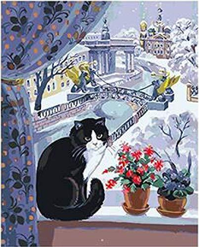 WYTCY Katze, Die Auf Dem Fenster Spielt Malbild Nach Zahlen Mit Acrylfarben Auf Segeltuch Für Wohnzimmerdekor 40x50cm