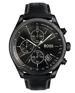 HUGO BOSS 1513474 Men Chronograph Quartz Watch with Leather Strap, Black