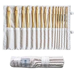 ensemble de 16 crochets en bambou par curtzy kit de crochets dans un tui de rangement en coton. Black Bedroom Furniture Sets. Home Design Ideas