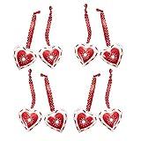 SONDERANGEBOT ABVERKAUF: 8 kleine rote weiße scheppernde Metall-Herzen Weihnachts-Anhänger Herz-Anhänger Blech-Herzen Stoffband gepunktet - Geschenkanhänger zur Hochzeit Weihnachten