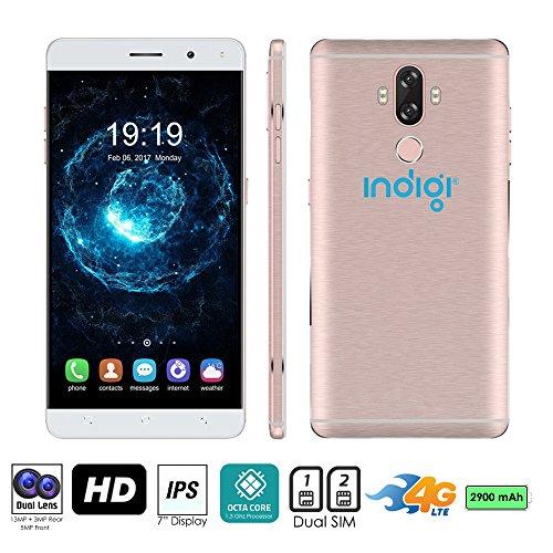 Indigi® entsperrt 4G LTE 6Android 7.0nougat Smartphone 8Core @ 1,3GHz (, Cam + Fingerabdruck Scan + Dual Sim Slots + Bluetooth 4.0) (Rose Gold) Entsperrt Handys Tracfone