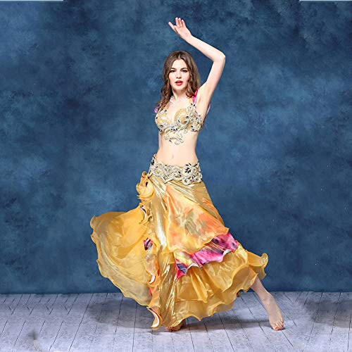 Arabian Kostüm Dance - Frauen Sexy Tanz Kleidung Set Bauchtanz Tribal Oriental Arabian Belly Dance Rock,Beige,S
