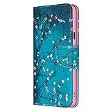 Reevermap Nokia 3.2 Hülle für Nokia 3.2 Handyhülle Leder Flip Case Tasche Bookstyle Brieftasche Schutzhülle Handytasche Magnetisch Kartenfach Ständer Rosa Blume am blauen Hintergr&