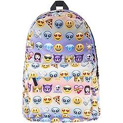 Bolso de Hombro Mochila Mochila de Emoji expresión Estudiante Europeo y Americano Viajes de Impresion 3D Marea Bolsa púrpura Personalidad Oxford Spinning 25L 42 * 27 * 10cm