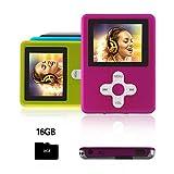 Btopllc Lettore MP3,lettore MP4 16GB,lettore musicale MP3 portatile,lettore di musica digitale MP3/MP4 Player classico ricaricabile/lettore multimediale/lettore audio/lettore multimediale -Rosa