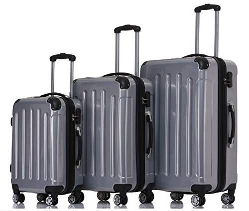 BEIBYE BEIBYE Hartschalen Koffer Trolley Rollkoffer Reisekoffer 4 Zwillingsrollen Polycabonat (Silber, Kofferset)