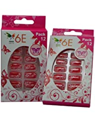 Image of 6E Acrylic Nails Set Red Stars Set of 12 Pack of 2 - Comparsion Tool