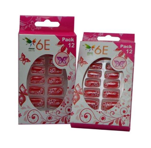 6E Set Red Stars acrilico unghie set di 12 Pack 2 - Best Price
